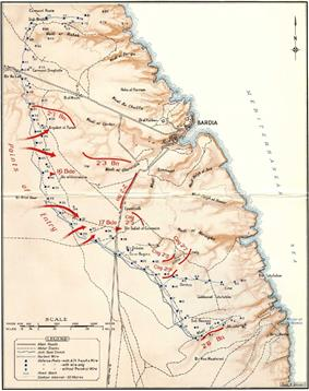 Topographic map of the Bardia fortress, indicating the location of all the Italian defensive posts and their defences. The Australian points of entry are on the western side. Posts 18 to 55, arranged on a rough line from south of Bardia to west of Bardia that is slightly curved to the south west, have been captured.