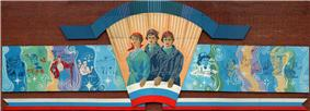 Heroic Soviet-style mural on the community centre building, Barentsburg