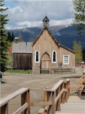 Exterior view of church in Barkerville
