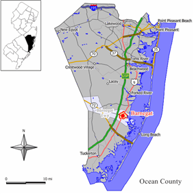 Map of Barnegat in Ocean County. Inset: Location of Ocean County in New Jersey.