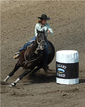 A woman on horseback makes a sharp turn around a white barrel.
