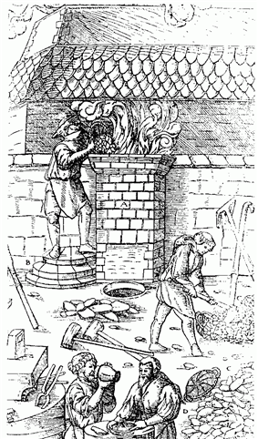 A sketch of four men working in an open air workshop; one is putting objects into a chimney-like object in the middle of the picture, from which smoke is emerging. Behind them is the front of another building with a tiled roof.