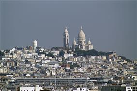 View over Montmartre district in the 18th arrondissement.