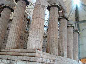 Ruins of a temple with columns.
