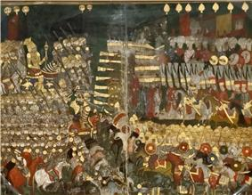 Miniature painting of two medieval armies facing each other