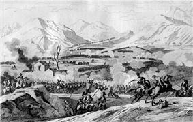 Print showing lines of soldiers maneuvering and fighting with mountains in the background