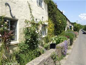 A row of whitewashed buildings on the left with climbing plants. Small flower filled gardens separate them from a stone wall fronting a road.