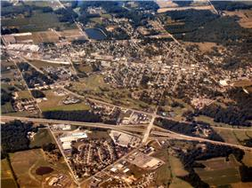 Batesville from the air, looking southwest