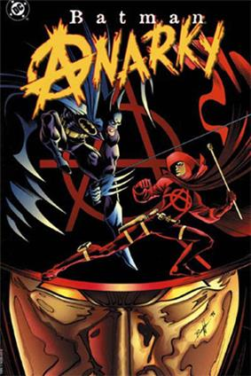Abstract image of a large red hat and gold mask. The red hat has a large circle-a insignia inscribed on it. Stylized male figures fight on the hat brim. One is dressed in dark blue and gray and has a blue cape. He fights with another one in red. The red figure wears the same hat and mask in the background. Above both figures is the title,