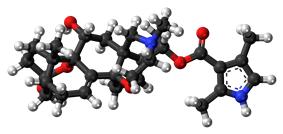 Ball-and-stick model of batrachotoxin