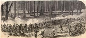 Logan's Division Battling the Confederates Near Fourteen Mile Creek