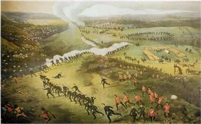 Circa 1885 lithograph of a birds-eye view of the Battle of Cut Knife Hill