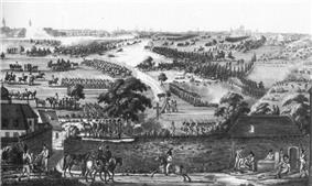 Black and white print of an 18th-century battle. Austrian cavalry and infantry advancing from left to right are overwhelming French soldiers.