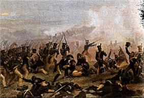 Painting of the American infantry at the Battle of Lundy's Lane