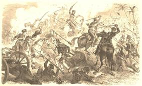 Sepia print of cavalrymen cutting with swords at foot soldiers. A cannon is visible at the left.