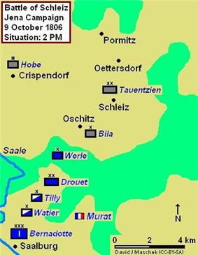 Map of the Battle of Schleiz, 9 October 1806 at 2:00 pm