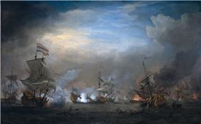 English and Dutch ships clash at night; the sky is dark, with the last colour of the day in the centre. The surrounding edges of the picture fade into deep blues and darkness.