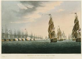 An engraved print showing a tightly packed line of 13 warships flying the French flag. The ships are firing on eight ships flying the British flag that are steadily approaching them from the right of the picture.