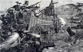 A southern African colonial battle scene. A small number of white soldiers wearing slouch hats use the crates on their wagons as cover and shoot at an apparently vast number of black warriors.