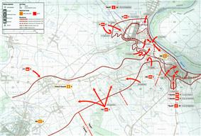 Map of the final phase of the battle, showing arrows driving into a narrow corridor and pushing back a defensive perimeter around the town