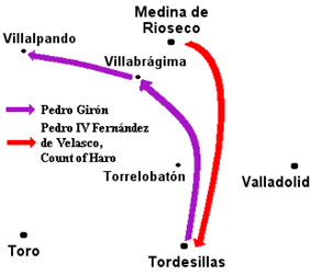 Map of army maneuvers.  The comunero army heads north to Villabrágima, then west, leaving the way open for the royal army to march south from Medina de Rioseco to Tordesillas.