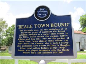 Beale Town Bound Blues Trail Marker Hernando MS 02.jpg