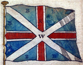 White saltire clearly visible over white-bordered red cross on blue background.