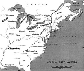 Map showing the approximate location of major tribes and settlements around 1648.Jennings, p. 15 & 26
