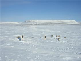 Graves of the dead crewman from the 1845 Franklin Northwest Passage expedition