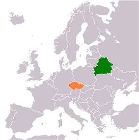 Map indicating locations of Belarus and Czech Republic