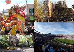 Clockwise from top: Chinese New Year celebrations in Chinatown, Barracas de Belgrano, a typical residential street in Belgrano