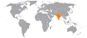 Map indicating locations of Belize and India