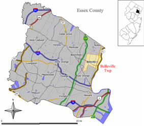 Map of Essex County showing the location of Belleville Township. Inset: Location of Essex County highlighted in the State of New Jersey.