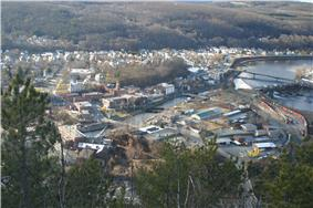 Bellows Falls in the early spring, viewed from Fall Mountain