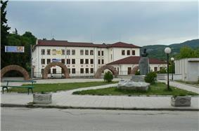 The monument of Hristo Botev and the Aleksandar Ivanov — Chapai School