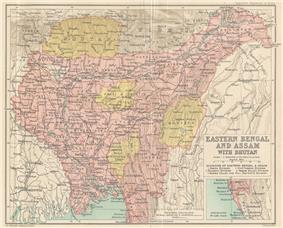 Location of Eastern Bengal and Assam