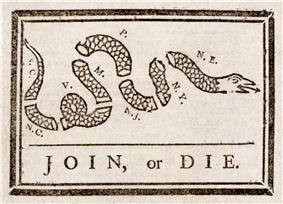 Join, or Die Benjamin Franklin was recycled to encourage the former colonies to unite against British rule