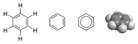 A molecule of benzene has a ring of 6 carbon atoms