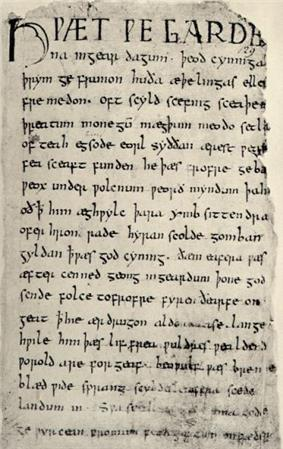 First page of Beowulf (Anglo-Saxon copy)
