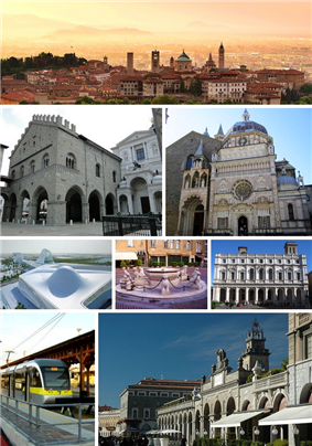Top: City skyline at sunrise. Second row. Left: Palazzo della Ragione and Bergamo Cathedral. Right: Cappella Colleoni. Third row. Left: asymptote architecture . Middle: Contarini Fountain in Piazza Vecchia. Right: Biblioteca Angelo Mai. Fourth row. Left: Bergamo–Albino light rail station. Right: Passeggiata in the central district.