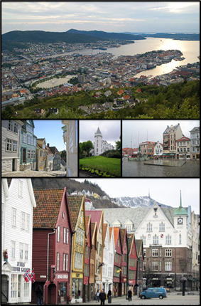 From top to bottom: city center, old bergen, Gamlehaugen, city square and Bryggen
