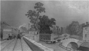Black and white image of a Victorian railway station
