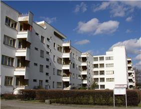Panzerkreuzer apartment building, a white four storey apartment complex