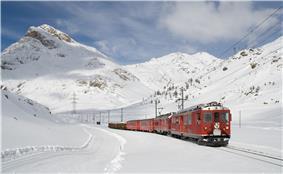 Winter scene near the top of the Bernina Pass.