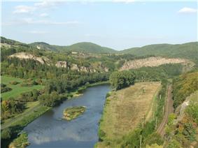 Berounka flowing through Czech Karst near Tetín