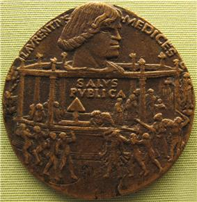 Bronze medal with a portrait of Lorenzo and a depiction of the assassination attempt in the Duomo