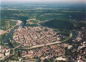 The old city of Besançon in the oxbow of the Doubs River.