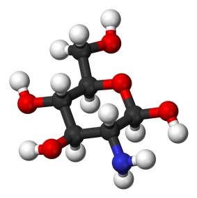 Ball and stick model of glucosamine ((2R,6R)-6-meth,-2-ol)