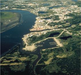Aerial view of Bethel on the Kuskokwim River