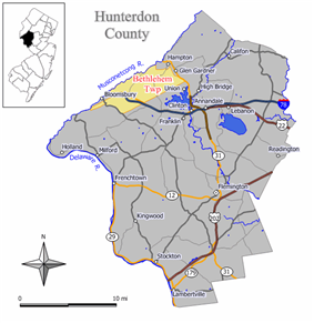 Map of Bethlehem Township in Hunterdon County. Inset: Location of Hunterdon County in New Jersey.